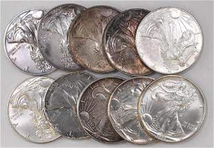 Group of (10) American Silver Eagle 1oz.