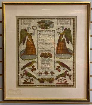 Framed German Birth and Baptismal Certificate