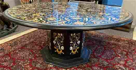 Pietra Dura Exquisite Stone Inlaid Onyx Table