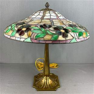 Antique stained glass floral table lamp