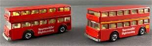 Group of 2 Leo Mattel Hot Wheels Double Deck Bus