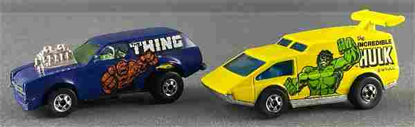 Group of 2 Hot Wheels/Marvel Comics die-cast vehicles
