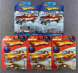 Group of 5 Hot Wheels Holiday Rods die-cast vehicles