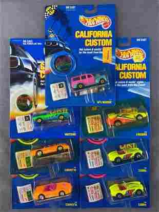 Group of 7 Hot Wheels California Customs die-cast