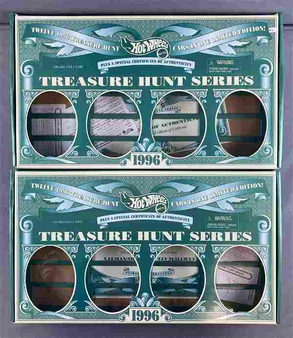 Group of 2 EMPTY 1996 Hot Wheels Treasure Hunt boxes