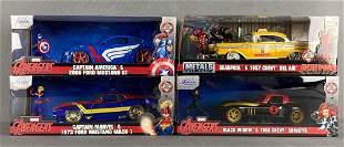 Group of 4 Jada Toys Marvel Comics die-cast vehicles