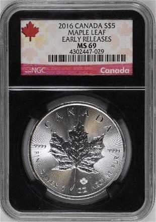 2016 $5 Canada Maple Leaf 1oz. .9999 Fine Silver (NGC)