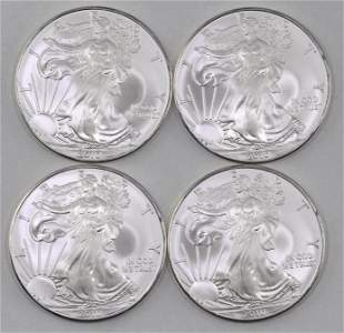 Group of (4) 2010 American Silver Eagle 1oz.