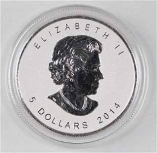 2014 $5 Canada Maple Leaf 1oz. .9999 Fine Silver
