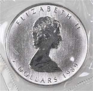 1989 $5 Canada Maple Leaf 1oz. .9999 Fine Silver