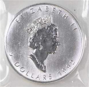 1992 $5 Canada Maple Leaf 1oz. .9999 Fine Silver