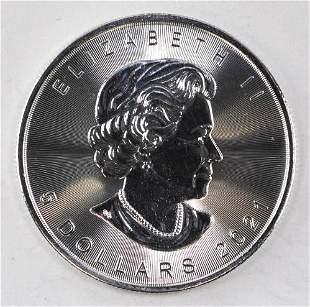 2021 $5 Canada Maple Leaf 1oz. .9999 Fine Silver