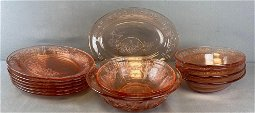 Group of 14 pieces Federal Glass Sharon Cabbage Rose