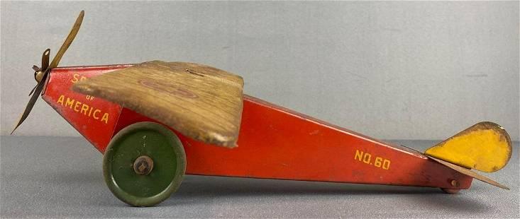 Pressed Steel Spirit of America Airplane pull-toy