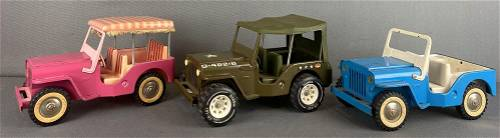 Group of 3 assorted Tonka Toys pressed steel Jeeps