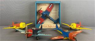 5 piece group assorted die-cast toy airplanes