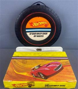 Group of 2 Hot Wheels Carry Cases and contents