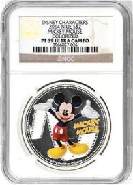 2014 NIUE $2 Mickey Mouse Colorized (NGC) PF69 Ultra