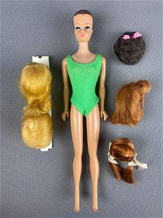 1958 Barbie molded hair Doll with wigs