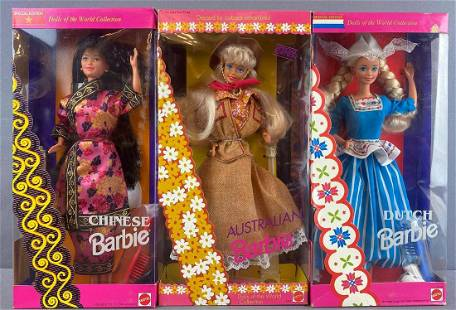 6 piece group Barbie Dolls of the World Collection
