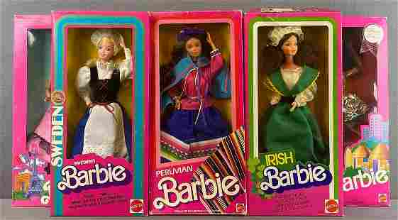 Group of 7 Barbie Dolls of the World Collection Fashion
