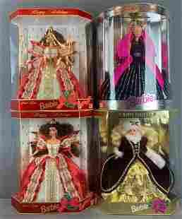 Group of 4 Happy Holidays Barbie Fashion Dolls