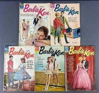 Group of 5 Dell Barbie and Ken Comic Books