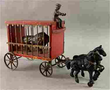 Antique Arcade Cast Iron and Wood Circus Wagon