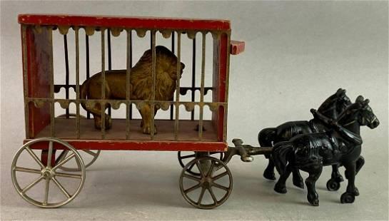 Arcade Antique Cast Iron Circus Lion Wagon