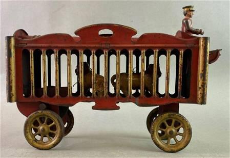 Antique Tin Circus Wagon Lion Cage