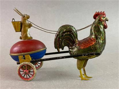 Lehmann DUO Rooster Pulling Rabbit Wind Up Tin Toy