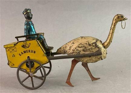 Lehmann Kamerun Ostrich Mail Cart Wind Up Tin Toy