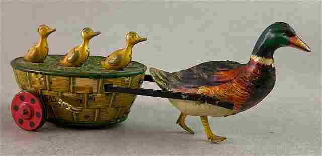 Lehmann Quack Quack Duck Cart Wind Up Tin Toy
