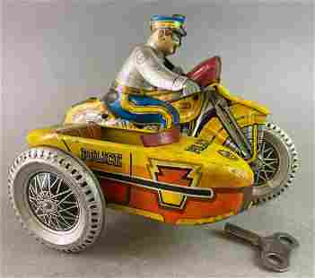 Marx Police Motorcycle with Sidecar Wind Up Tin Toy