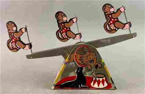 Lewco Monkey See-Saw Wind Up Tin Toy