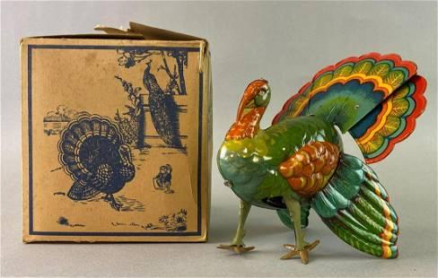 Turkey Wind Up Tin Toy with Box