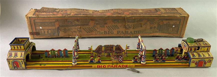 Marx The Big Parade Wind Up Tin Toy with Box