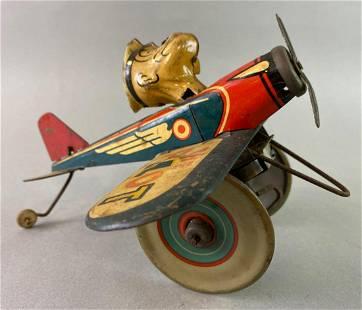 Marx Popeye the Pilot Wind Up Tin Toy