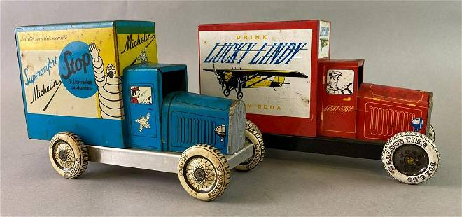 Group of 2 Schylling Tin Toy Trucks Michelin Lucky