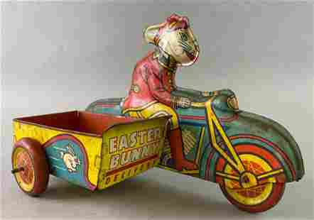 Wyandotte Tin Toy Easter Bunny Delivery Motorcycle