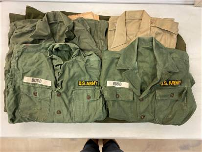 7 piece group US Army Uniform Shirts and more