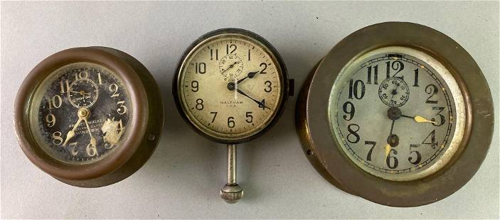 Group of 3 Antique Automobile Dash Clocks