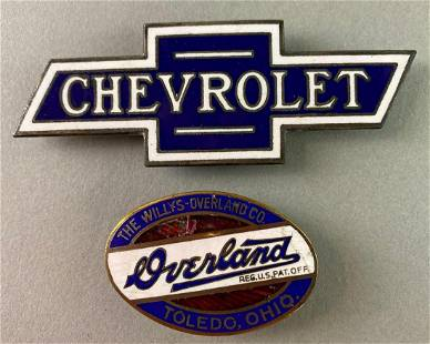 Group of 2 Porcelain Automobile Tags Chevrolet Overland