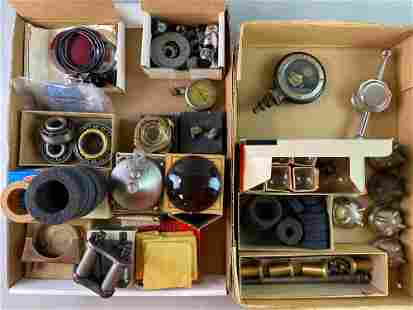 Group of Antique Automobile Parts Lenses Motometer