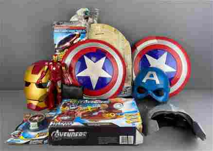 9 piece group of assorted Super Hero masks and more