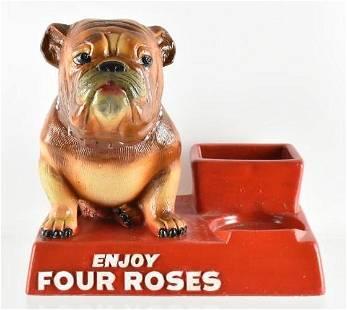 Vintage 4 Rose Whiskey Advertising Back Bar Bulldog