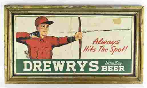 Vintage Drewrys Framed Advertising Cardboard Beer Sign