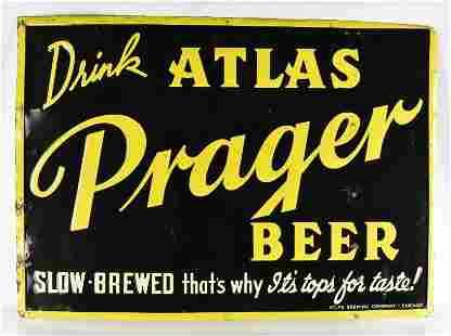Vintage Atlas Prager Advertising Metal Beer Sign