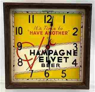 Vintage Champagne Velvet Beer Advertising Beer Clock