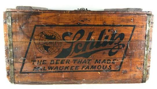 Vintage Schlitz Beer Advertising Wood Beer Crate